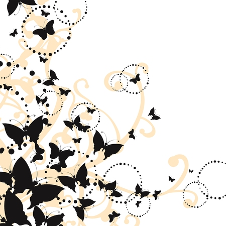 elegant floral pattern with butterflies Stock Vector - 6083065