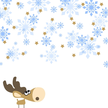 illustration of a cute little deer, looking at a snowfall Vector