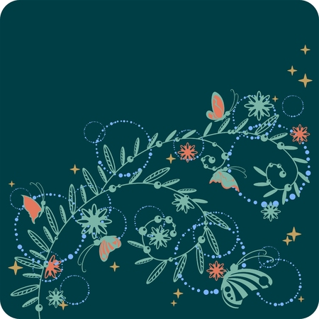 beautiful floral pattern with butterflies and stars Stock Vector - 6083067