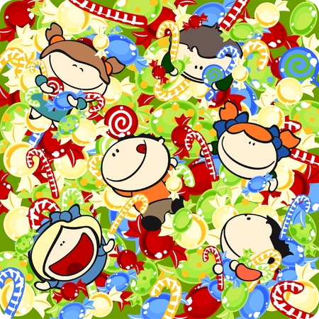 happy and funny kids #6, pool of sweets theme Illustration
