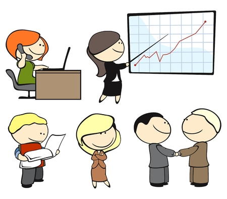 set of office workers in different situations Vector