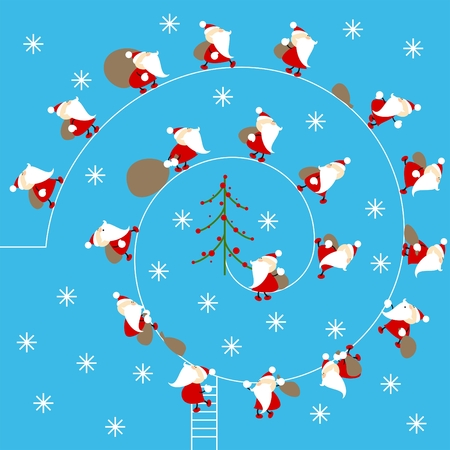 clauses: a lot of cute little santa clauses walking to a christmas tree