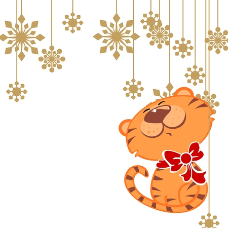 illustration of a cute tiger with snowflakes Vector