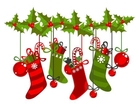 Kerst sokken  Vector Illustratie