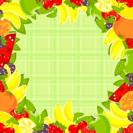 bright fruit frame and cloth background Vector