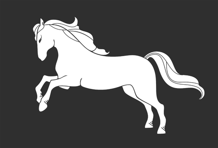 stylized image of a white horse on a black background Stock Vector - 6222251