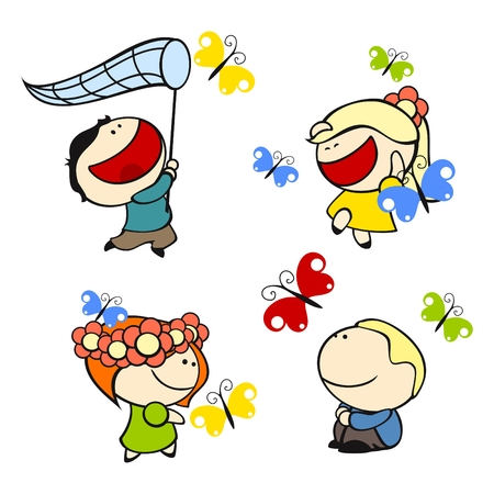 set of images of funny kids on a white background #9, butterflies theme Vector