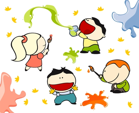 Satz von Bildern des funny Kids auf weißem Hintergrund # 10, Malerei theme