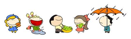 Satz von Bildern des funny Kids auf weißem Hintergrund # 13, Herbst Thema