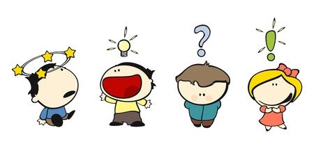 Satz von Bildern der lustige Kinder auf einem weißen Hintergrund # 14, Ausdruck Symbole Thema Vektorgrafik