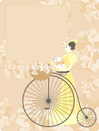 pink bike: elegant retro style card with an image of the woman with a bicycle and a dog