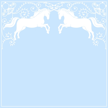 beautiful unicorn frame on a blue background Vector