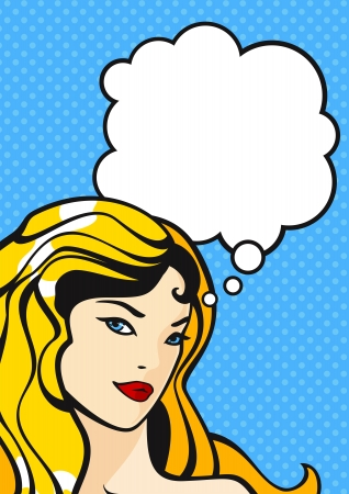 Illustration of a thinking comics style girl Vector