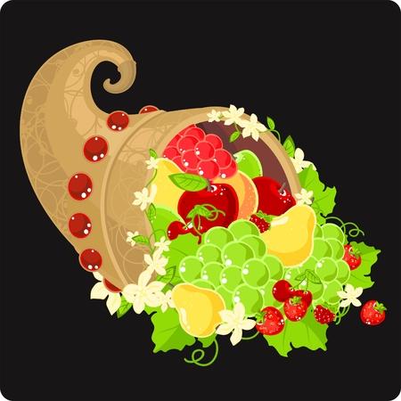 cuerno de la abundancia: Ilustraci�n de una cornucopia llenos de frutas y decorado con flores