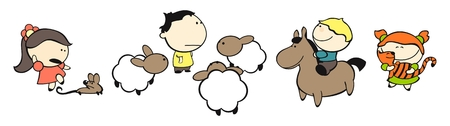 Satz von Bildern des funny Kids auf weißem Hintergrund # 16, Tiere theme