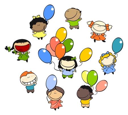 Satz von Bildern der lustige Kinder auf einem weißen Hintergrund # 19, Nationen Thema