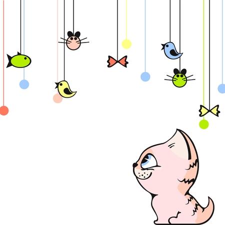 Cute card with a little pink kitten Vector