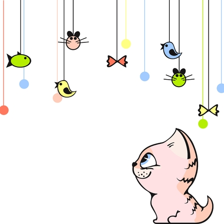 Cute card with a little pink kitten Stock Vector - 6322575