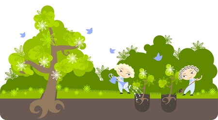 Illustration of two boys taking care of the planet Stock Vector - 6322581