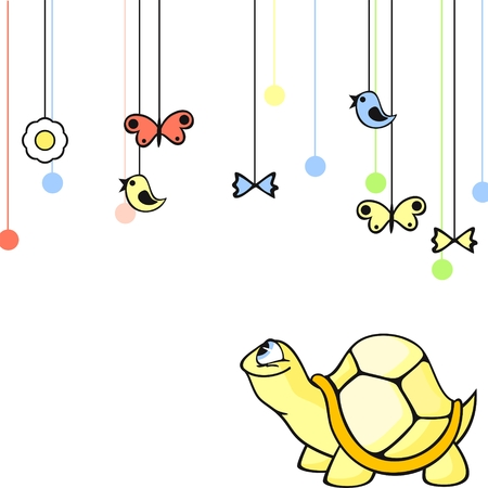 Cute card with a little yellow turtle Stock Vector - 6322580