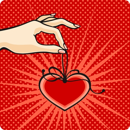 Comics style Valentines day card with a female hand, holding a heart Vector