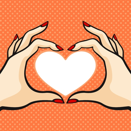 Comics style Valentines day card with two hands and heart Vector