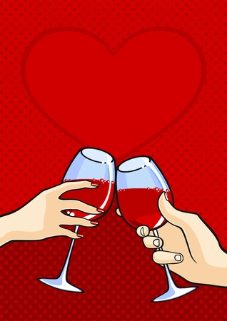 Valentines day card with two hands with wine Vector
