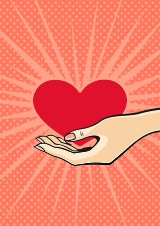 The heart in a hand Vector
