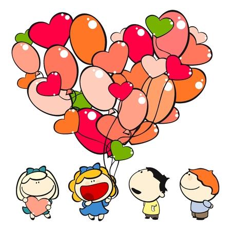 Satz von Bildern des funny Kids auf weißem Hintergrund # 15, Valentinstag Thema  Vektorgrafik
