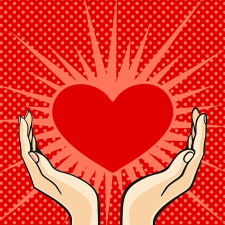 Comics style Valentines day card with the female and male hands, holding a heart Vector