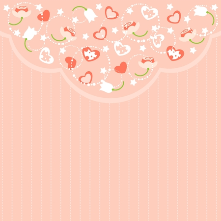 Romantic pink St. Valentines Day card with flowers, stars and hearts Vector