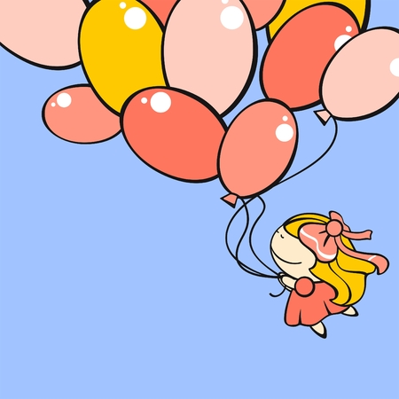 Funny card with a cute little girl flying with the balloons Vector