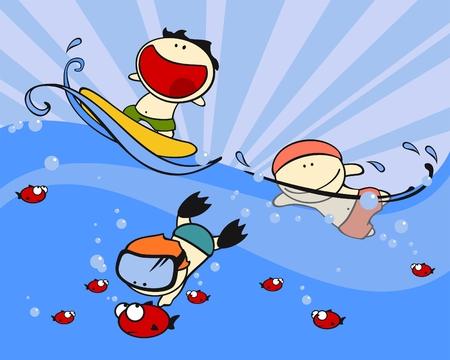 deportes caricatura: Conjunto de im�genes de ni�os divertidos # 23, tema de nataci�n