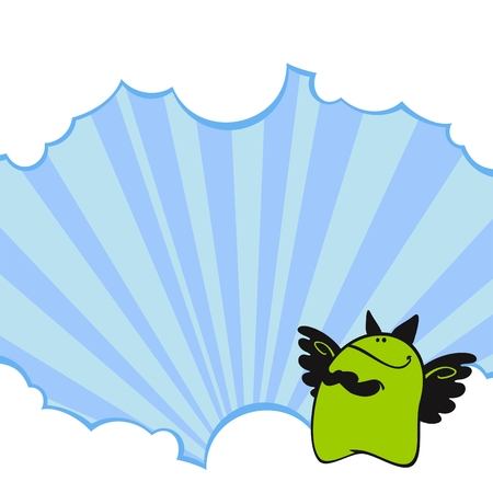 Cute card with a little green monster with wings Vector