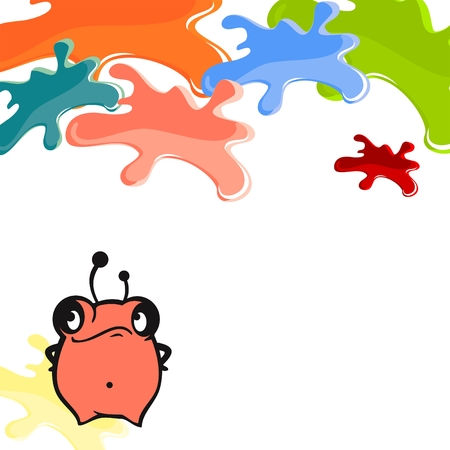 Cute card with a little pink monster and color blots Vector