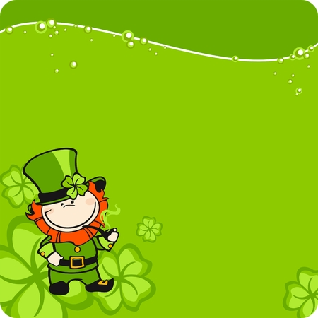 St. Patricks Day leprechaun card Vector