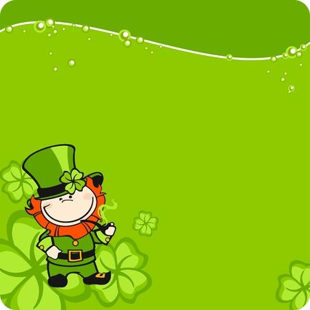 St. Patrick's Day leprechaun card Vector Illustration