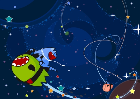 Two cute aliens race through the open space Vector