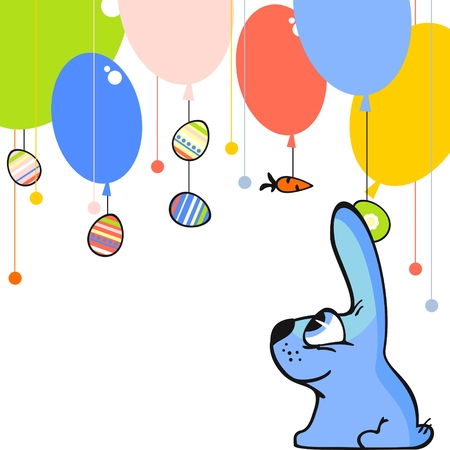 Cute easter card with a little blue bunny, eggs and balloons Vector