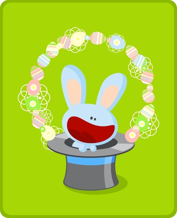 Little easter bunny in a top hat Vector