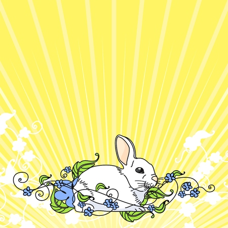 Retro style easter card with a cute white bunny Vector