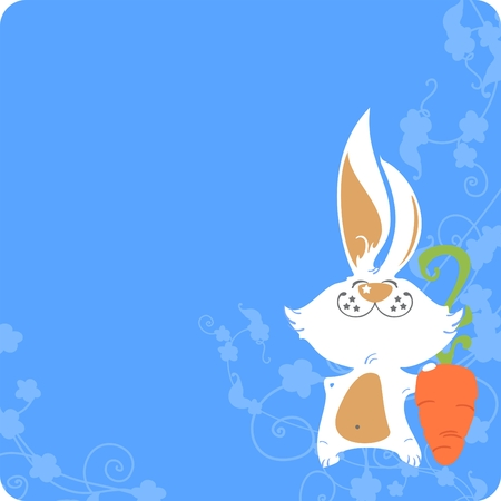 Easter card with a white bunny and carrot Vector