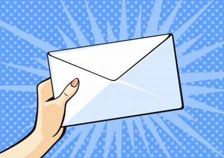 envelope: Hand with envelope Illustration
