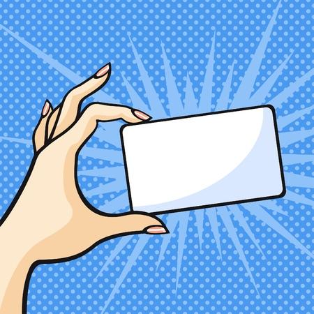pop art: Female hand with a card