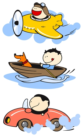 airplane cartoon: Set of images of funny kids on a white background #26, transport theme