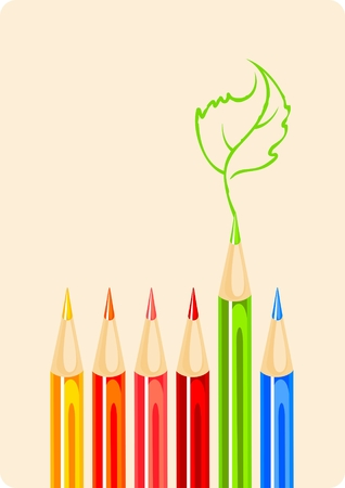 Color pencils and green leaf sketch Stock Vector - 6883022