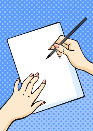 writing letter: Hands with pencil and paper Illustration