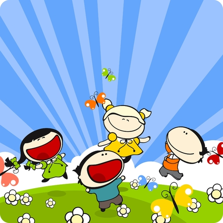Ni�os jugando en un pasto en un d�a soleado de verano Foto de archivo - 6883038