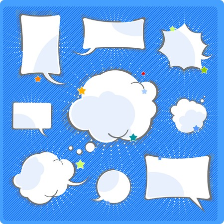 Comics speech and thinking bubbles set