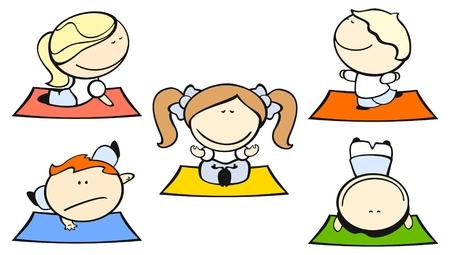yoga meditation: Insieme di immagini di bambini divertenti su uno sfondo bianco # 29, tema di yoga  Vettoriali